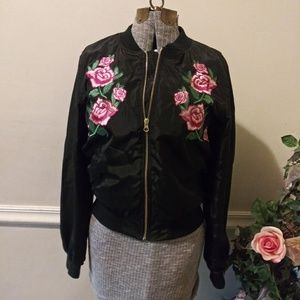 EUC Love Tree Rose Embroidered Blk Bomber